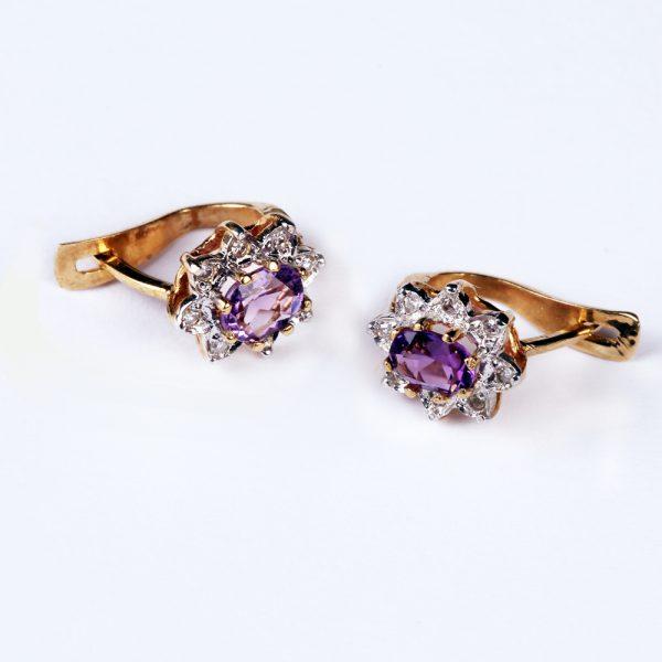 Kuld Artur kullast ametüstide ja teemantitega kõrvarõngad