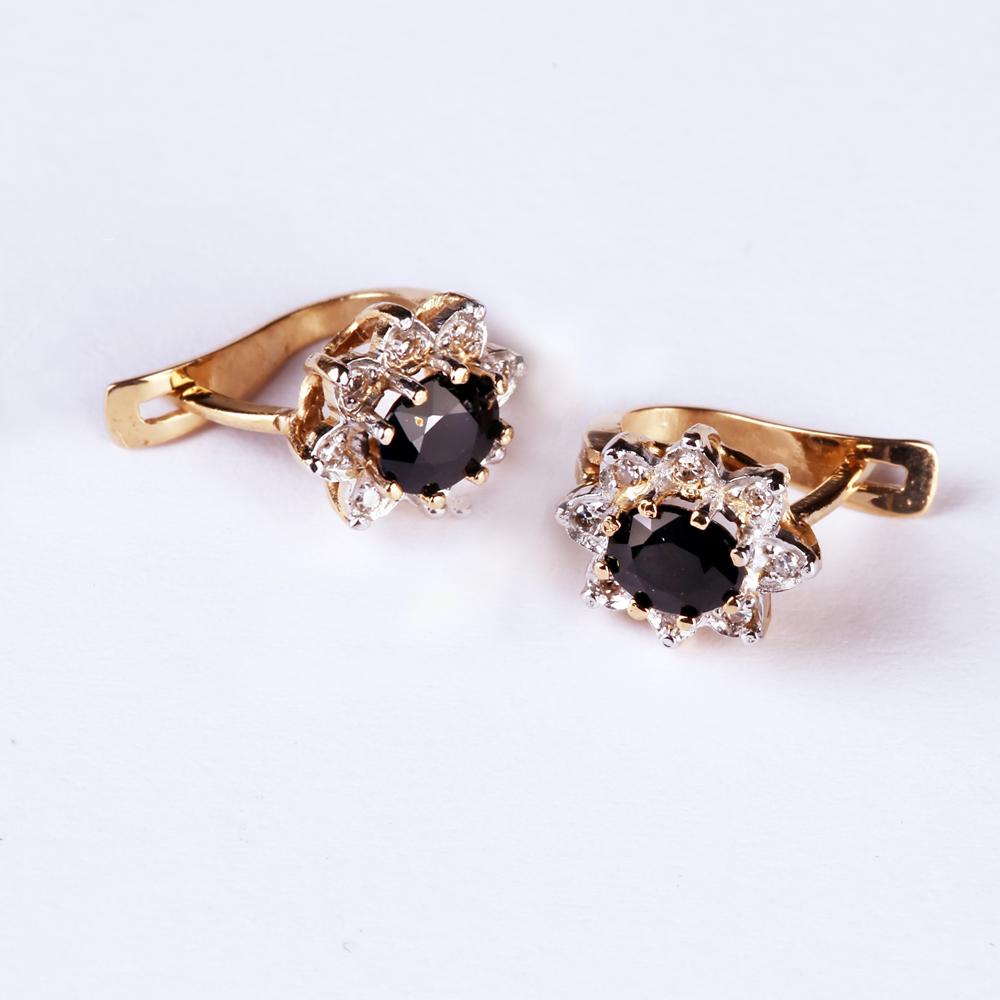 Kuld Artur kullast safiiride ja teemantitega kõrvarõngad
