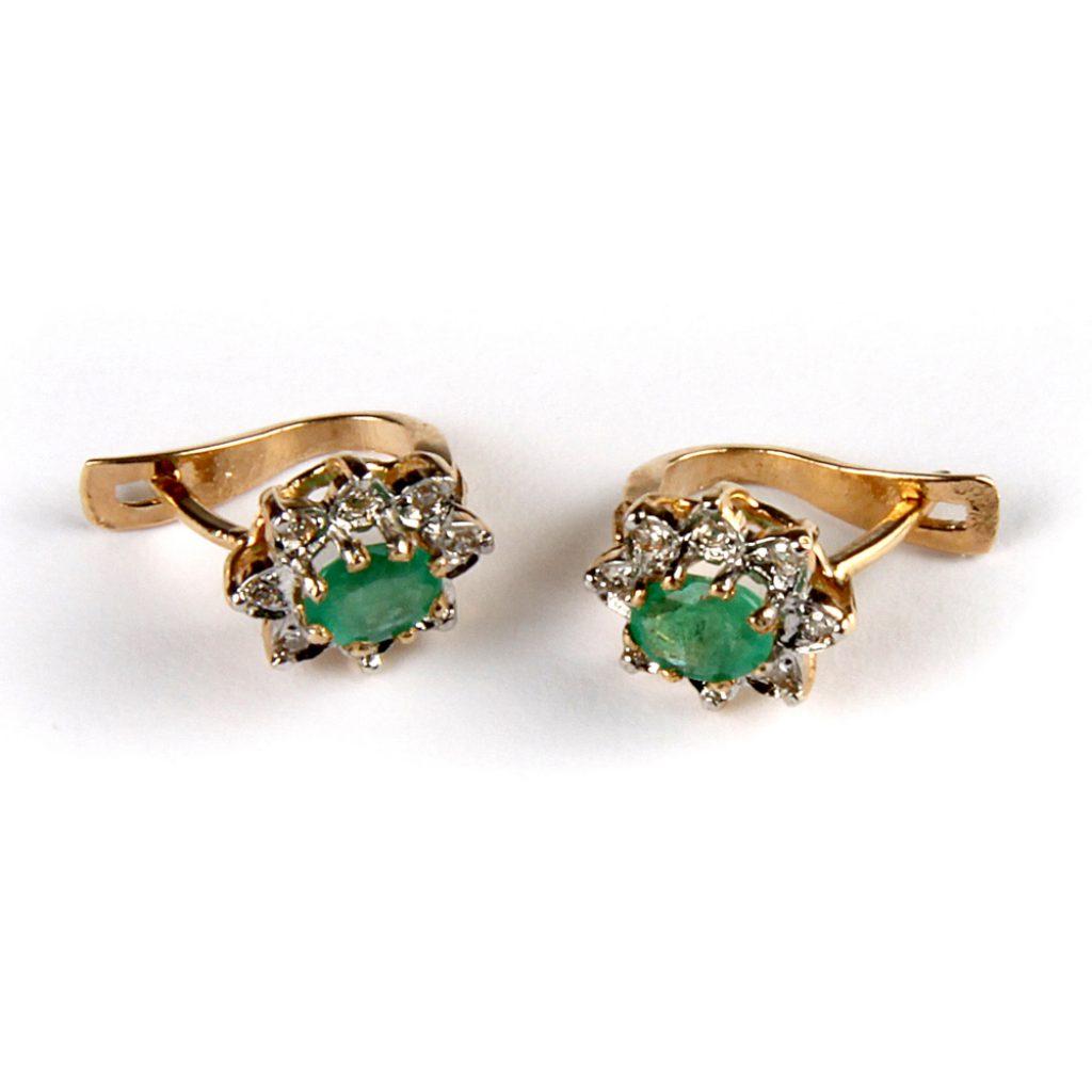 Kuld Artur kullast smaragtideja teemantitega kõrvarõngad