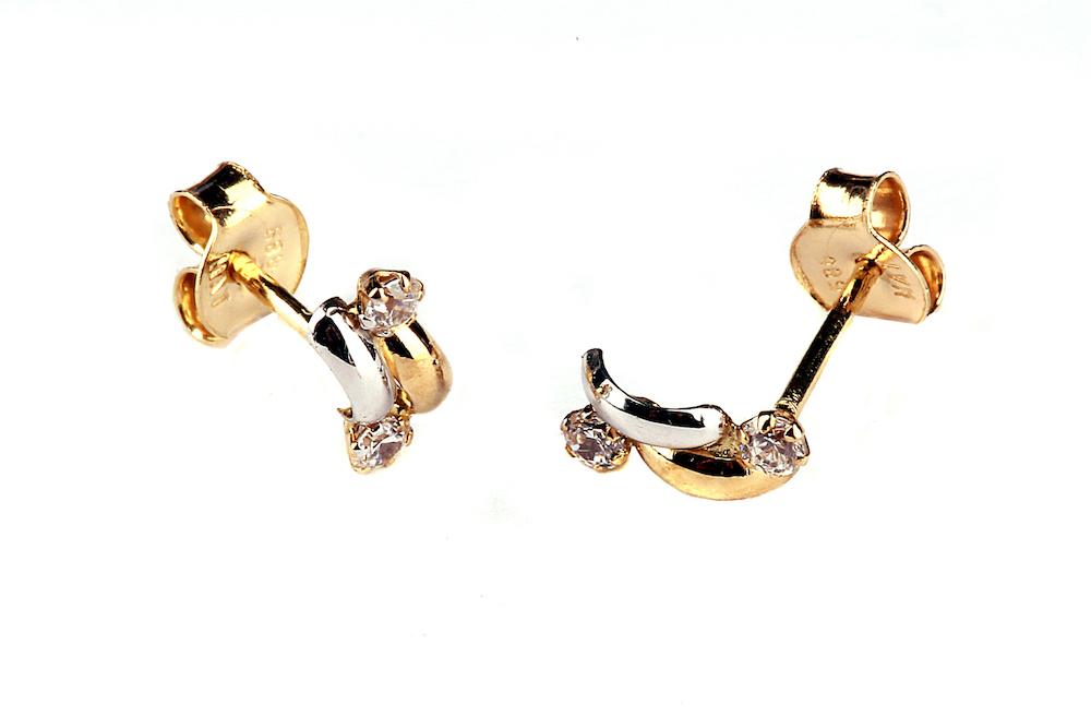 Kuld Artur kullast kahevärvilised kõrvarõngad