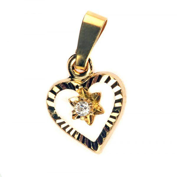 Kuld Artur kullast südamekujuline teemantiga ripats