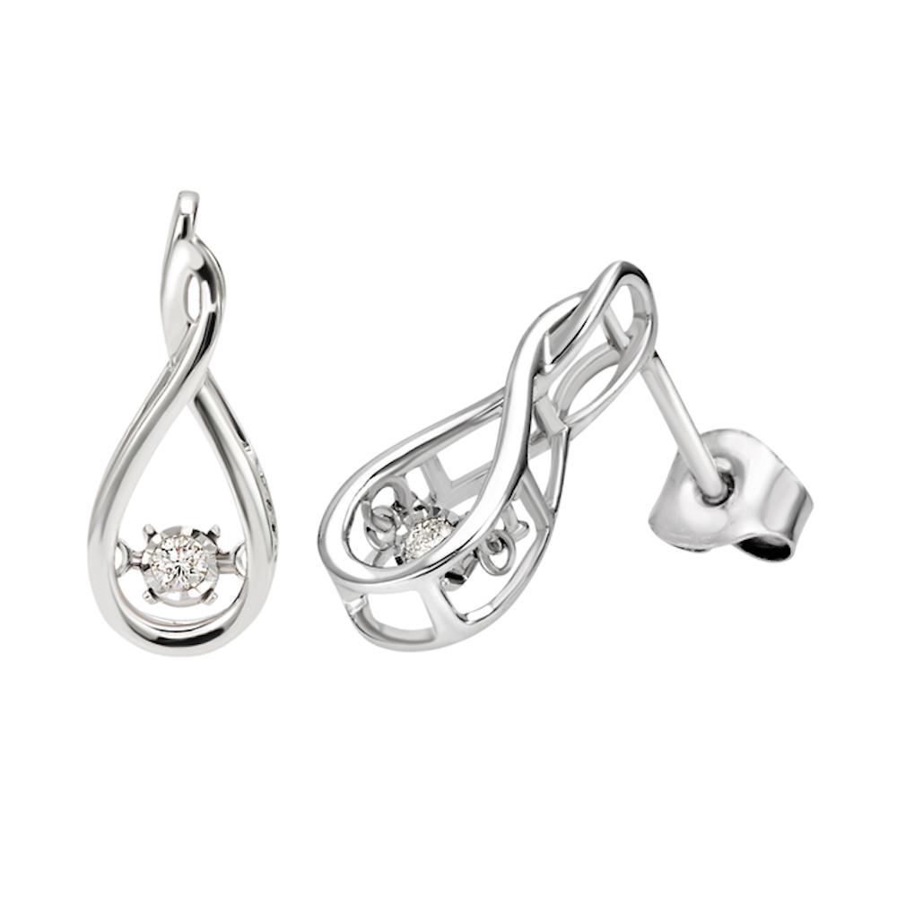 Kullast kõrvarõngad 0.06 ct teemantidega DAMIANI