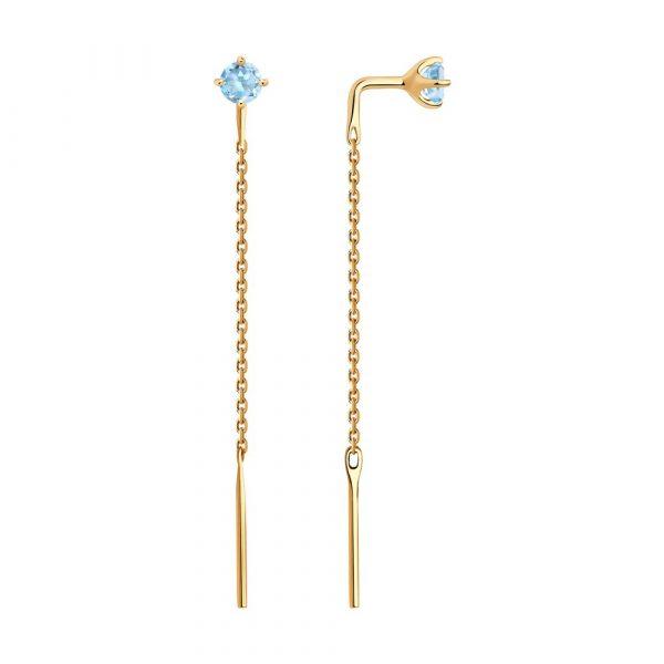 Rippuvad kuldkõrvarõngad siniste topaasidega kaubamärgilt Sokolov