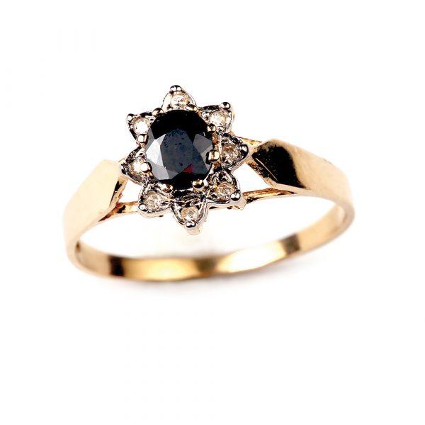 Safiiri ja teemantidega kuldsõrmus 19.5 mm